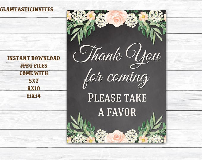 Chalkboard Favors Sign, Baby Shower Thank You Sign, Wedding Thank You Sign, Bridal Shower Thank You Sign, Wedding Sign, Digital, Rustic