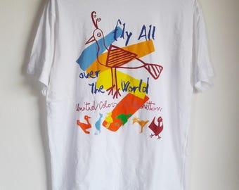 Vintage United Colours Of Benetton Hawaii Surfing Pop Art T-Shirt Medium