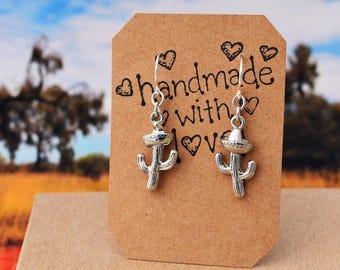 Cactus & Sombrero Earrings, Western Wear, Desert Lover, Southwestern Jewelry, Arizona Earrings