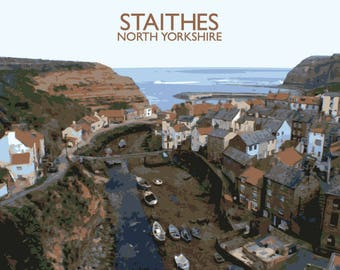 An Illustration of Staithes in North Yorkshire