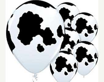 ON SALE 12  COW Print Qualatex Latex Balloons 11 inch Holstein Cow Balloons Farm animal Party