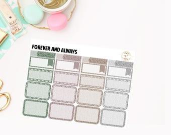 Forever and Always Glitter Sampler, planner stickers