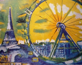 Chagall Paris The Eiffel Tower The Giant Wheel - art print - gift for artists - for art lovers - Impressionism yellow and blue framable