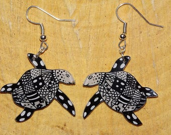 Sterling Silver turtle earrings in colors