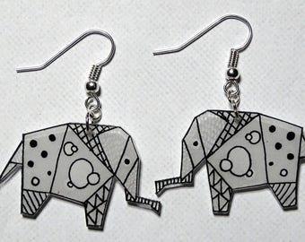 "Earrings ""pretty little elephants black and white"" """