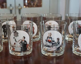 Set of 8 Norman Rockwell Glasses/The Saturday Evening Post