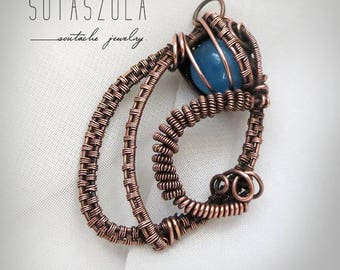Wire wrapped blue gemstone necklace copper stone necklace wire jewellery Celtic blue Steampunk Handmade wire wrapped copper