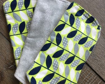 Blue, green and grey contoured flannel burp cloths. Set of 3.