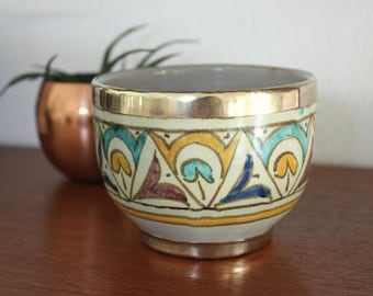 Painted Ceramic Clay Bowl Planter with Brass Accent