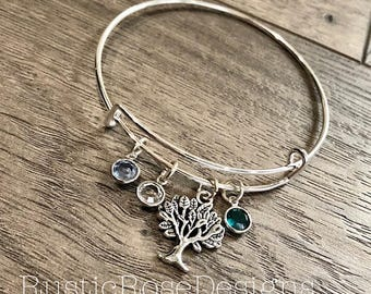 Family tree bracelet / Tree of Life bangle / Multiple birth stones / Tree charm / Grandma gift / Mom bracelet / Up to 10 birth stones
