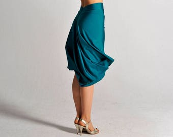 PAOLA teal skirt with slit - sizes XS/S/M