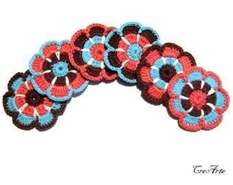 Crochet flower appliques, Set of 6 flowers, Crochet embellisments, Colorful appliques, Fiori uncinetto (Cod. 23)