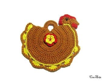 Brown and Yellow crochet hen potholder, presina marrone e gialla a forma di gallina ad uncinetto
