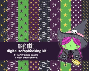 HALLOWEEN 9 KIT - SCRAPBOOKING digitales papeles y 1 adorno.  Descarga inmediata