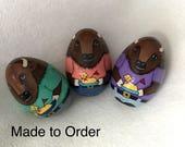 Made to order Buffalo beastie egg holding butter lamb T-shirt with buffalo heart