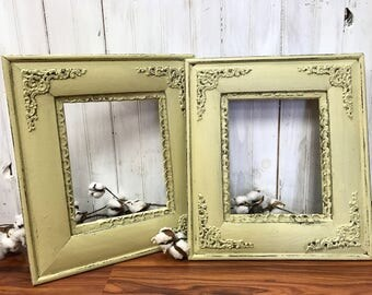 Antique Wooden Frames 8 x 10 painted and distressed pale yellow
