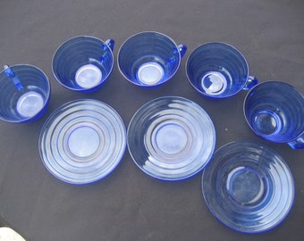 3 Saucers/5 Cups-Bormioli Rocco-Forum Saphir-Rings-Cobalt Blue-France