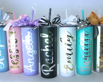 Personalized Stainless Steel Skinny Tumbler 20 oz., Stainless Steel Tumbler, Personalized Wedding Tumbler, Personalized Gift, Wedding Favor