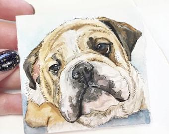 "Mini 3""x3"" Whimsical Custom Watercolor Pet Portrait"
