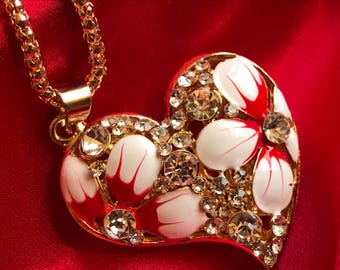 Heart Pendant Crystal Clear Rhinestones Heart Pendant Sweater Chain Necklace  Red & White Enamel Flowers
