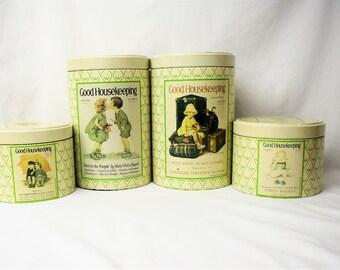 Vintage Good Housekeeping Canister Set, Good Housekeeping Decorative Tins, Cottage Decor, Storage Tins