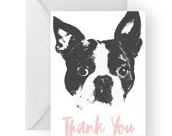 Boston terrier thank you card- Boston terrier greeting card, dog card, Boston thank you card, cute dog thank you card, thank you card