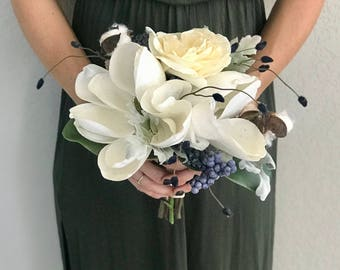 Magnolia Holiday Bridesmaid Bouquet - Faux Flowers