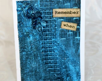 Mixed Media Art Card - Remember When  in Blue