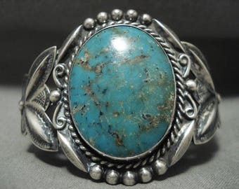Early 1900's 'Earth Blue Turquoise' Vintage Navajo Silver Bracelet
