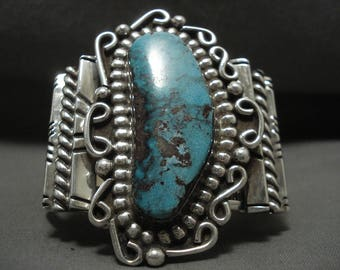 Magnificent Vintage Navajo Blue Diamond Turquoise Silver Bracelet Old