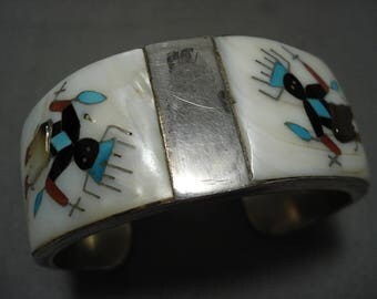 Heavy And Extremely Detailed Vintage Zuni Kachina Silver Turquoise Bracelet
