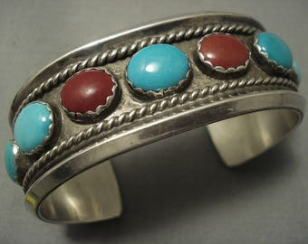 Exquisite Vintage Navajo Turquoise Sterling Silver Bracelet Old Pawn