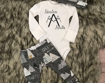 Newborn outfit / adventure awaits outfit / baby outfit / coming home outfit / hospital outfit / mountains outfit / baby boy outfit