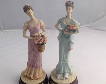 Vintage Figurines Two collectable Figures Bouquet Lady Figurines Porcelain ( Ref no. A253 )