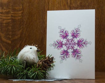 Snowflake greeting card, Winter blank card, note card, winter, holiday, christmas, colorful, unique, handmade, Christmas decor, blank card