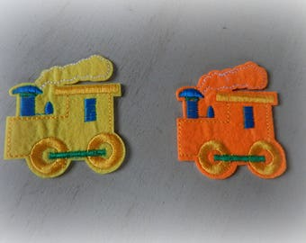 2 patches patches appliques fusing train iron-on or sew 5 * 5.5 cm