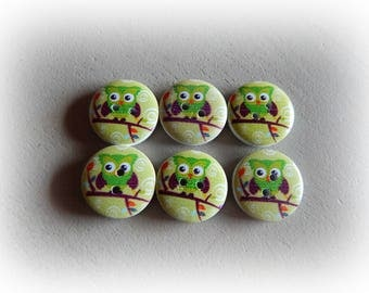 6 buttons round OWL / OWL Green 20 mm