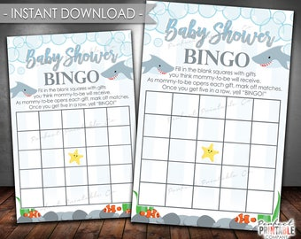 Shark Baby Shower Bingo Game, Shark Bingo Card, Shark Bingo Game, Shark Baby Shower Game, Printable, Digital File, Instant Download #595
