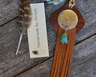 Ethnic Recyled leather Native American Bohemian Hippie Tribal western concho