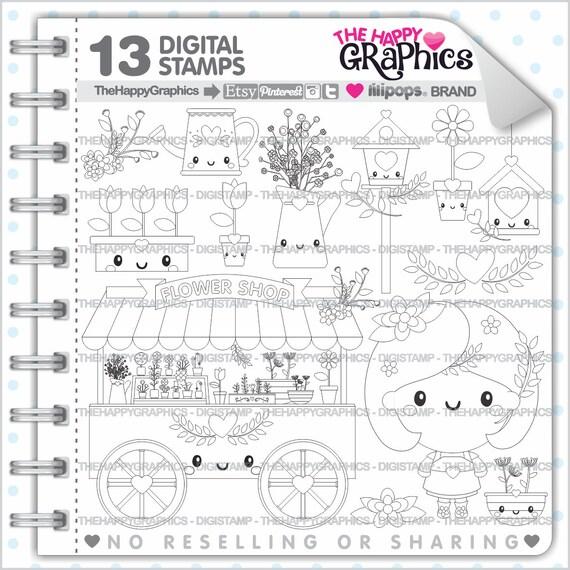 Flower Shop Stamp COMMERCIAL USE Digi Digital Image