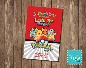 "Personalized ""Pokemon"" Party Invitation Ready to Print/Text/Email"