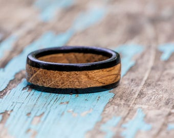 Kentucky Bourbon Barrel and Ebony Wood Ring - Bourbon Barrel Ring Mens Wedding Band Womens Wooden Ring Mens Engagement Ring Wood Anniversary