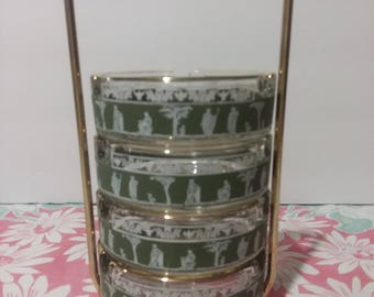 Mid Century Jeannette Glass Hellenic Green Ashtrays with Brass and Wood Holder