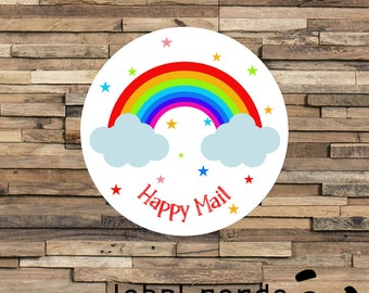 Happy Mail Stickers, Happy Post Labels, Thank You Stickers, Rainbow Stickers, Rainbow Mail, Pretty Packaging Stickers, Wedding Invite Labels