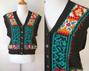 80s/90s Festive Sweater Vest - Button Up Knit Vest - Christmas Sweater Vest - Ugly Sweater Vest - Grandma Sweater Vest - Size Medium