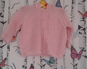 Pink Hooded Cardigan, 2 - 3 Year Old, Hand Knitted Cardigan, Handmade, Childs Cardigan, Girls Cardigan