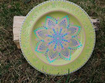 Teal pink mandala decorative ceramic plate, teal mandala wall art, teal mandala decor, mandala dot art, mandala home decor, mandala plate