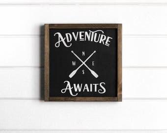 "Adventure Awaits Sign, Adventure Awaits Wood Sign, Adventure Awaits Nursery, Adventure Wood Sign, Adventure Sign, 12""W x 12""H"