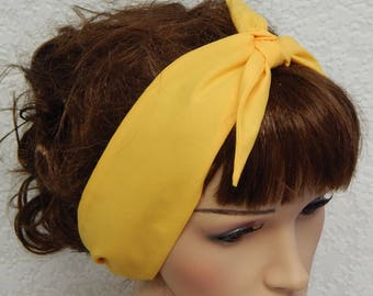 Yellow self tie headband retro hairband 50's head wear pin up head scarf rockabilly hair scarf vintage style head wrap