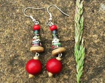 Beautiful Handmade Paper Bead Earrings Sustainable. Colour varieties.